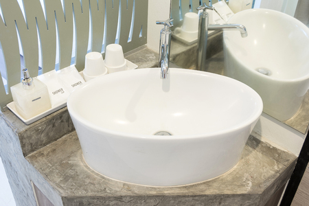 Modern sink in the bathroom Stock Photo