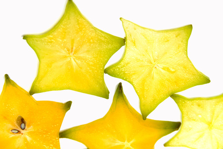 slice of star fruite isolated on white background