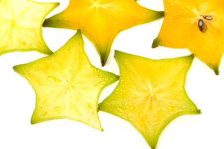 slice of star fruite isolated on white Stock Photo