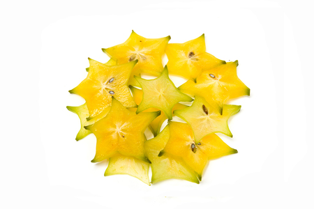 star fruit carambola or star apple on white background healthy fruit food Stock Photo