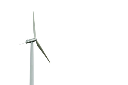 wind turbine on white.Wind Energy Blows into Future Stock Photo