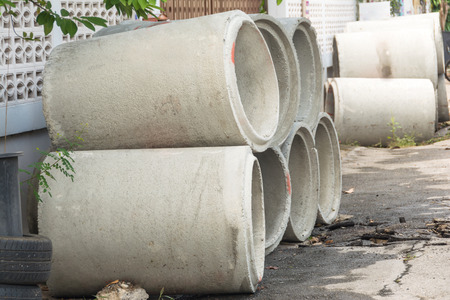 Concrete Pipe stock on construction site