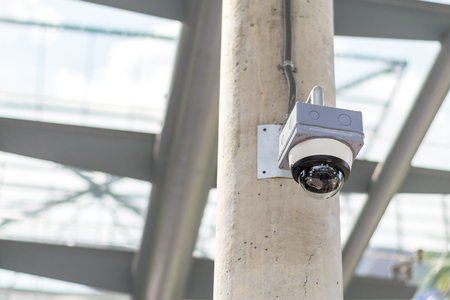 Security camera on the Concrete poles Imagens