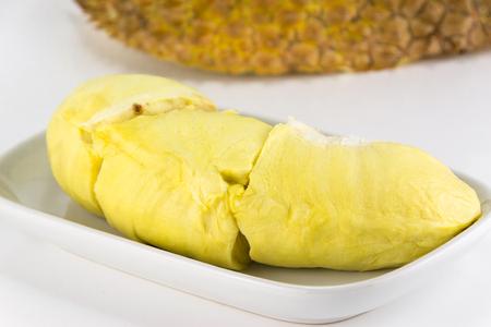Durain fruit on white background. famoust fruit of thailand 版權商用圖片