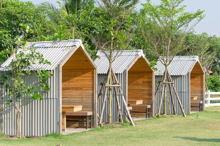 Row Of  Small Hut In The Garden