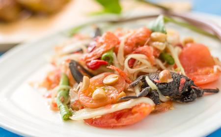 Spicy Papaya Salad with Salted Crab  Or Som Tam thai food