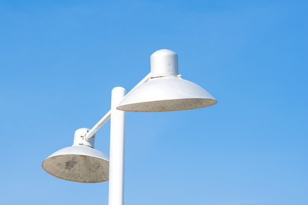 electric public street lamp posts with bluesky Stock Photo