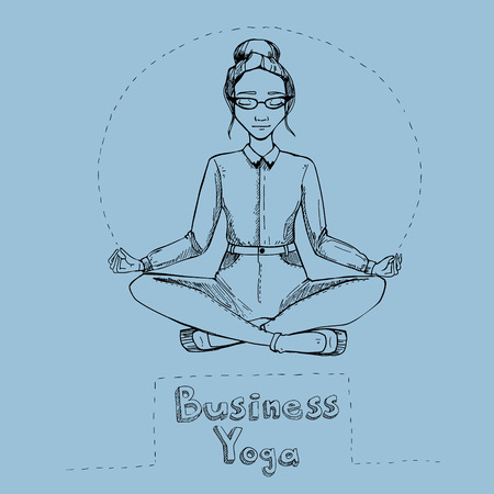 flexible business: Woman in the lotus position. illustration.