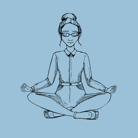 woman pose: Woman in the lotus position. illustration.