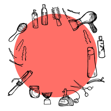 illustration - Hairdressing tools (scissors, combs, styling).