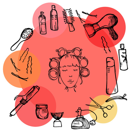 hairdressing scissors: illustration - Hairdressing tools (scissors, combs, styling).