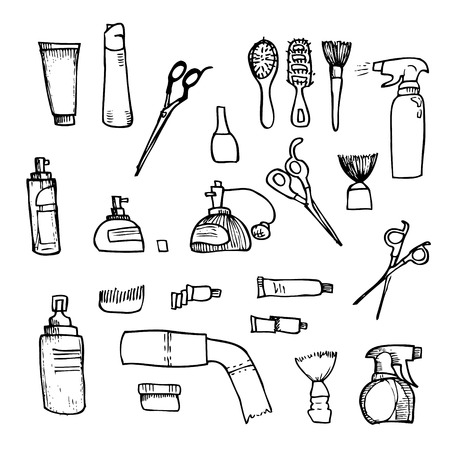 combing: illustration - Hairdressing tools (scissors, combs, styling).