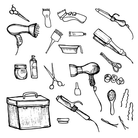combs: illustration - Hairdressing tools (scissors, combs, styling).