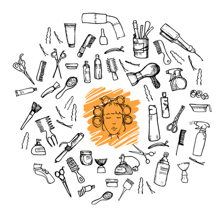 combing: Hand-drawn vector illustration. Mega set - Hairdressing tools (scissors, combs, styling). Isolated on white background