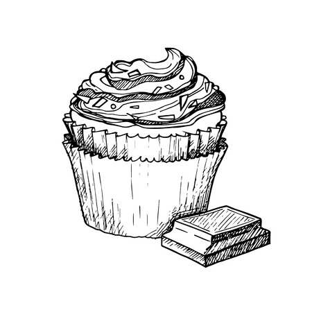 crumb: Hand drawn vector illustration - Sweet cupcake with cream and chocolate crumb