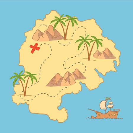 Hand getrokken vector illustratie - schatkaart en design-elementen (bergen, palm, draak, zee etc.)