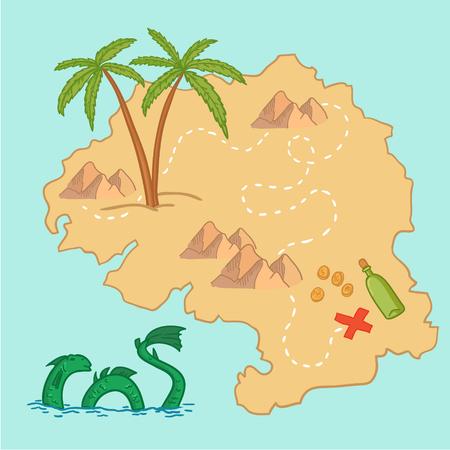 Hand getrokken vectorillustratie - schatkaart en ontwerpelementen (bergen, palm, draak, zee enz.)