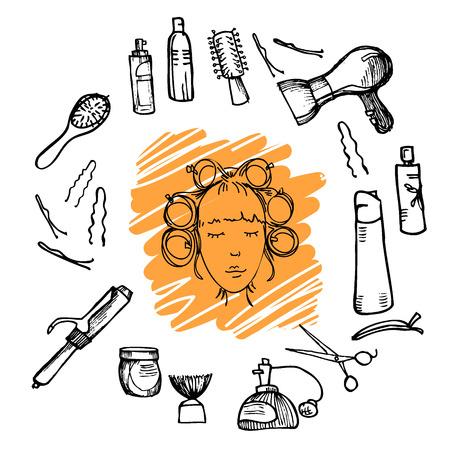 Main illustration dessinée - outils de coiffure (ciseaux, peignes, style). Vecteur