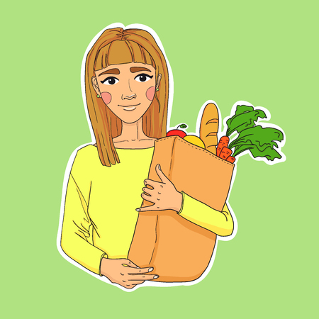 woman holding bag: Hand drawn illustration. Healthy eating secret of beauty. Young beautiful woman holding a bag of fruits and vegetables. Vector. Paper Bag With Food