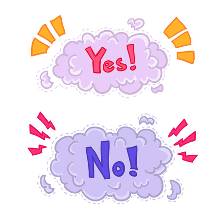 yes or no: Boom comic book explosion,yes or no. Vector illustration