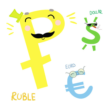 Hand drawn vector illustration. Cartoon money. Dollar, EURO and Ruble. Cute character Illustration