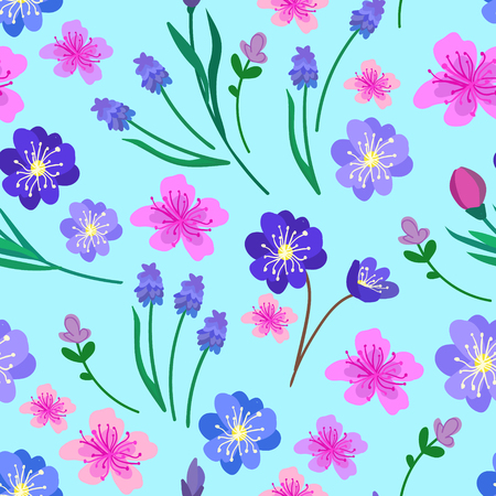 Hand drawn vector illustration. Elegant seamless pattern with flowers
