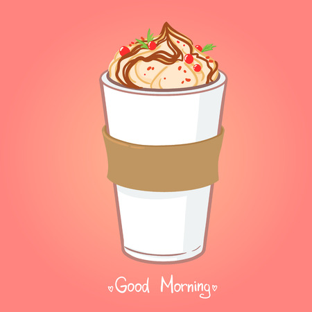 Hand drawn vector illustration - coffee drink with chocolate.