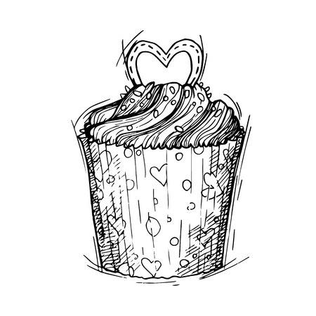 Hand drawn vector illustration - Sweet cupcake with love. St. Valentines Day