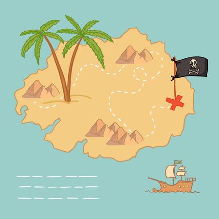 Hand getrokken vector illustratie - schatkaart en design-elementen (bergen, palm, schip, vlag)