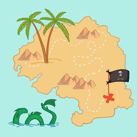 Hand drawn vector illustration - treasure map and design elements (mountains, palm, dragon, sea etc.)