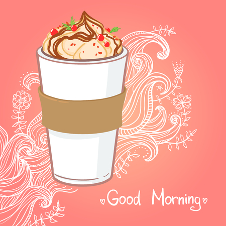 caramel sauce: Hand drawn vector illustration - coffee drink with chocolate