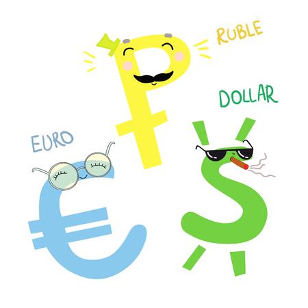 Hand drawn vector illustration. Cartoon money. Dollar, EURO and Ruble. Cute character Illustration