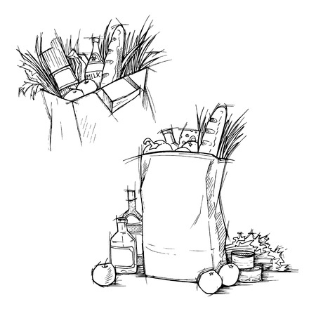 provision: Hand drawn illustration - Paper Bag With Food. Sketch.
