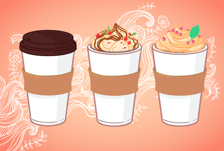 Hand drawn vector illustration - Coffee to go and other sweet desserts. Background with waves and flowers