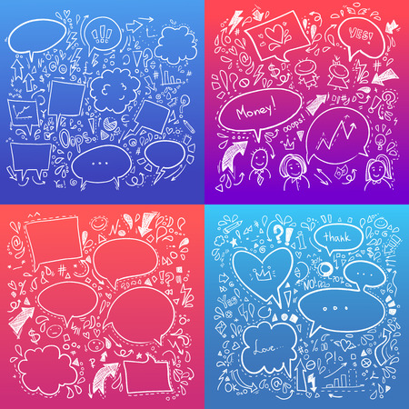 bussines: Hand drawn sketch illustration - Speech Bubbles. Collection