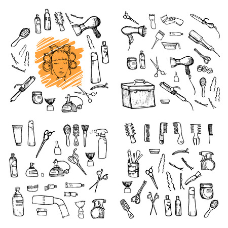 combing: Hand drawn illustration - Hairdressing tools (scissors, combs, styling). Vector Illustration