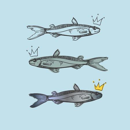 orificio nasal: Dibujado a mano ilustraci�n - peces con burbujas flotantes. Vector Vectores