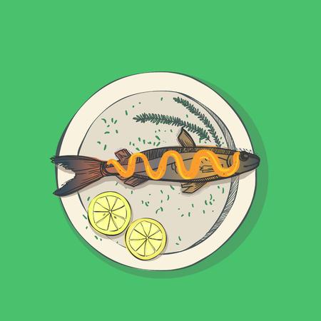 gravy: Hand drawn illustration - fish with lemon on the dish. Vector.