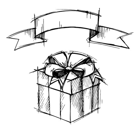 neckband: Hand drawn illustration - Magic gift box with ribbon. Vector
