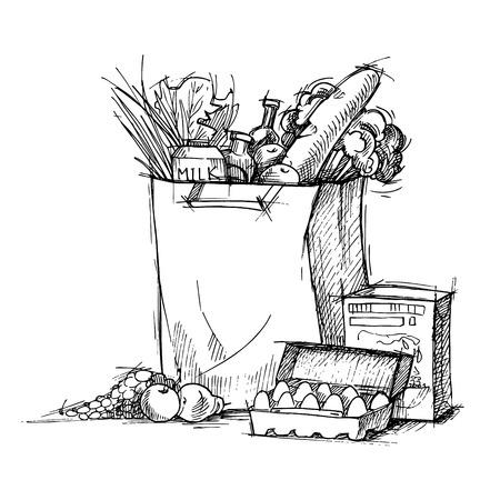 Mano vector dibujado - bolsa de la compra del supermercado con el alimento sano. Tienda de comestibles. Ilustración de vector