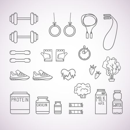 Hand-drawn vector illustration - Fitness and Health icons.  イラスト・ベクター素材