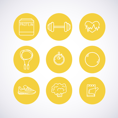 Hand-drawn vector illustration - Fitness and Health icons. Stock Illustratie