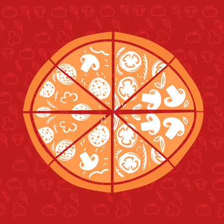 italian tradition: Hand-Drawn vector Illustration. Pizza on red background. Traditional cuisine of Italy