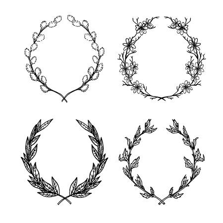illustrazione vettoriale disegnata a mano. Collezione floreale di allori e ghirlande. Set di elementi d'epoca per creare biglietti e inviti. Foglie, fiori, turbinii, elementi floreali.