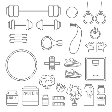 traction: Hand-drawn vector illustration - Fitness and Health icons. Illustration