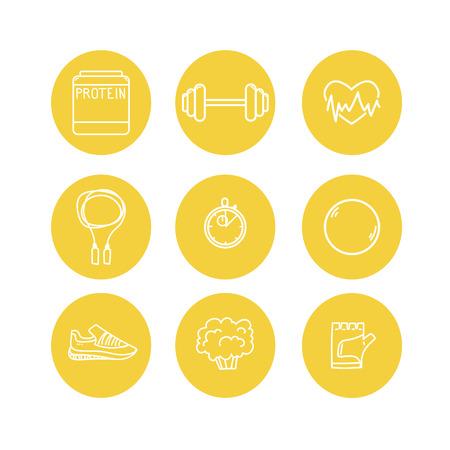 Met de hand getekende vector illustratie - fitness en gezondheid iconen.