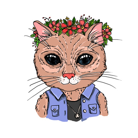 Hand-drawn vector illustration. Hipster cat with wreath of flowers. Vintage. Isolated on white background