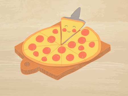 comic characters: Hand-drawn vector illustration - Pizza pepperoni on the chalkboard. Comic characters.