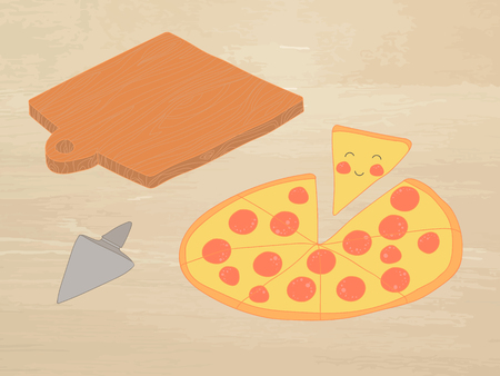 pepperoni: Hand-drawn vector illustration - Pizza pepperoni and chalkboard. Comic characters. Illustration