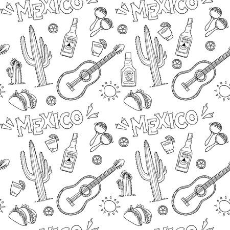 enchiladas: Hand-drawn vector seamless pattern - Mexico. Mexico icons.